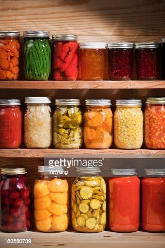 Food Preserves Canning Jars on Shelves, Fruit and Vegetable Storage