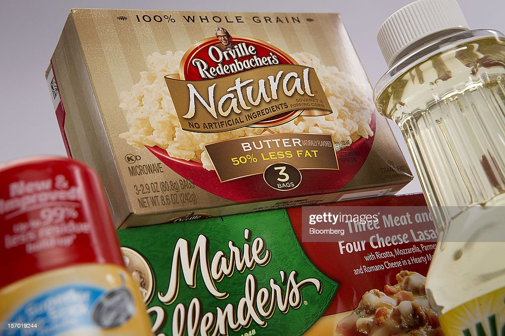 Food products made by ConAgra Foods Inc., are arranged for a photograph in New York, U.S., on Tuesday, Nov. 27, 2012. ConAgra Foods Inc. agreed to acquire Ralcorp Holdings Inc. for about $5 billion, creating one of the largest packaged food companies in North America and concluding a pursuit that included three rejections since March last year. Photographer: Scott Eells/Bloomberg via Getty Images