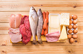 Group of important proteins, meats, fish, dairy, eggs, white meat on a wooden table as background, Shot from above