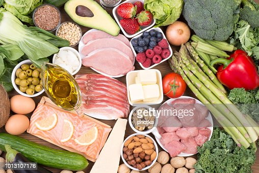 Food recomended on low carb diet or ketogenic diet : Stock Photo