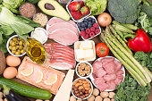 Food recomended on low carb diet or ketogenic diet, top view