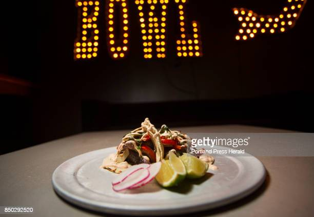 Food review of Bayside Bowl in Portland Beef tacos with carne asada rajas vegetables and chipotle crema
