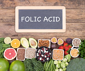 Food rich in folic acid, top view