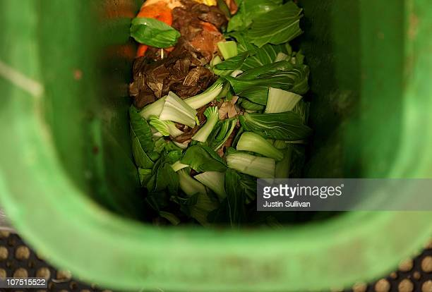 Food scraps are seen in a compost bin at The Slanted Door restaurant on December 10 2010 in San Francisco California One year after the San Francisco...
