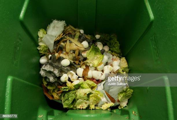 Food scraps are seen in a recycling container at MoMo's restaurant April 21 2009 in San Francisco California Norcal Waste Systems is collecting food...