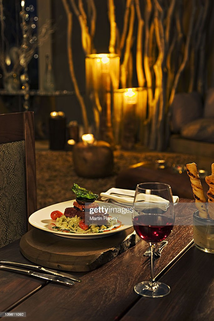Food served at a luxury Lodge. Namibia. (PR: Property Released) : Stock Photo