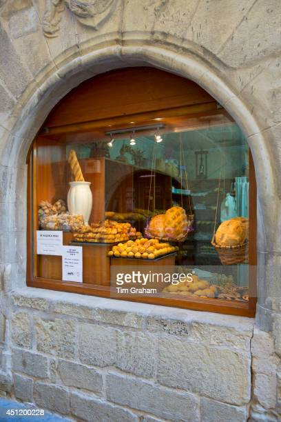 Food shop panaderia selling artisan bread and cakes in Calle Mayor in town of Laguardia RiojaAlavesa Basque country Spain