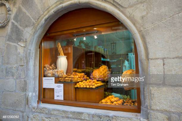 Food shop selling artisan bread and cakes in Calle Mayor in town of Laguardia RiojaAlavesa Basque country Spain