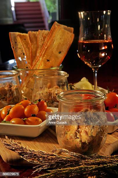 Food shots of lamb rillettes which is served in a little glass pot with a basket of pretty wafer–thin toasted bread at Palate in Glendale on July 28...