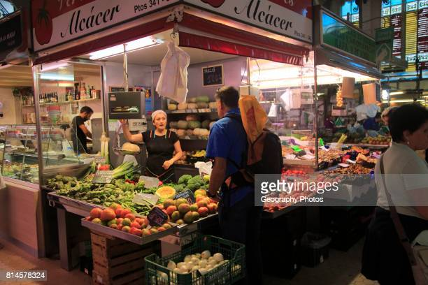 Food stall inside central market building city of Valencia Spain