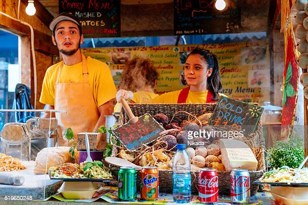 Food stall on Camden market, UK