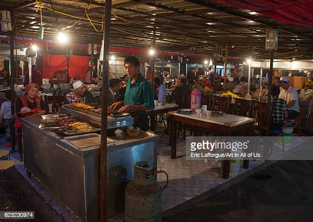 Food stalls in night market Kashgar Xinjiang Uyghur Autonomous Region China on September 20 2012 in Kashgar China