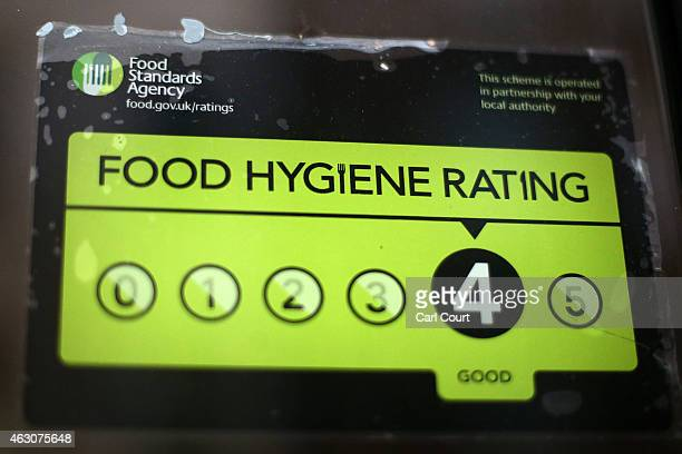 Food Standards Agency rating certificate is pictured in the window of a restaurant on February 9 2015 in London England Claims have been made that...