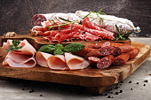 Food tray with delicious salami, ham,  fresh sausages and herbs. Meat platter with selection.