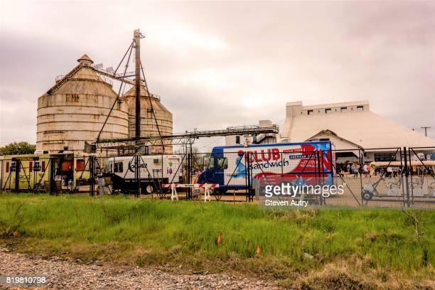 WACO, TX, USA  MARCH 18, 2017: Food Trucks lined up inside the fence at Magnolia Silos.