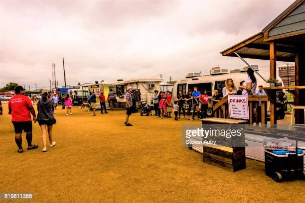 WACO, TX, USA  MARCH 18, 2017: Food trucks serving patrons on the grounds of Magnolia Market & Gardens.