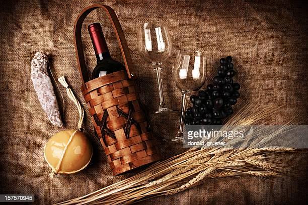 Speisen und Wein-Komposition &
