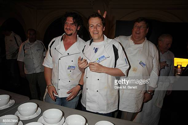 Food writers Jay Rayner Tom ParkerBowles and chef Charles Campion attend the charity event 'Too Many Critics' at the Royal Exchange on October 19...
