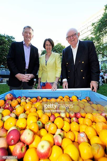 Foodbank NSW ACT Board Member Peter Kelly Hon Leslie Williams MP and Foodbank NSW ACT CEO Gerry Anderson pose for a photo during the Foodbank Big...