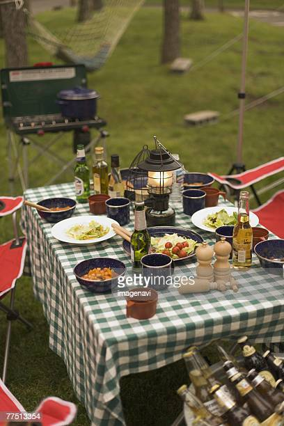 Foods laid out on a Table on Campsite