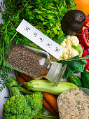 Foods rich in fiber and antioxidants. Healthy eating concept, background of health food with inscription FIBER