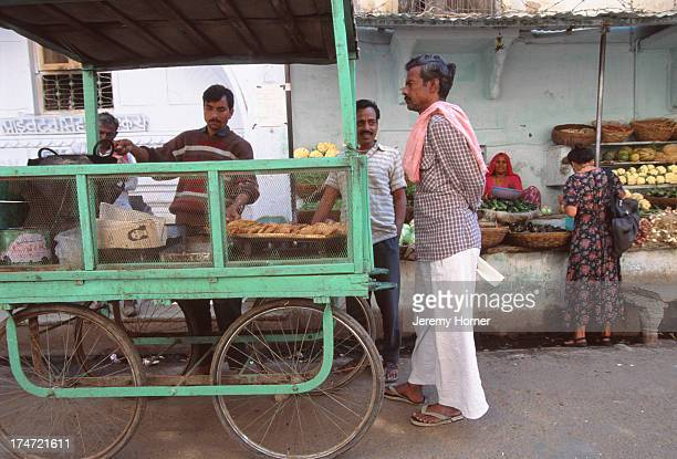 A foodstall on a street in the town of Pushkar Rajasthan