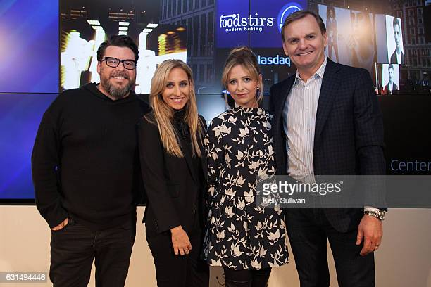 Foodstirs cofounders Greg Fleishman Galit Laibow and Sarah Michelle Gellar pose for a photo with Bruce Aust Vice Chairman of Nasdaq and President of...