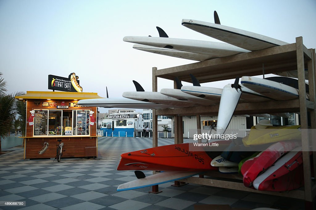 Foodtrucks are pictured at the recently refurbished Kite Beach is pictured on September 15, 2015 in Dubai, United Arab Emirates. The Beach is very popular with Dubai locals, with a variety of watersports and refreshments on offer.