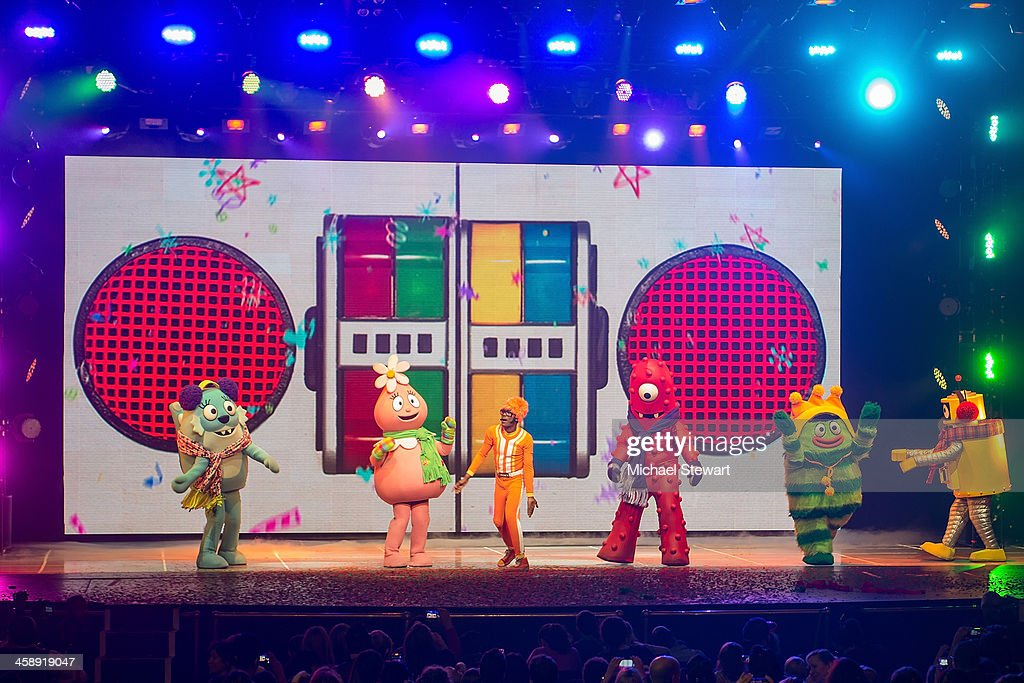 Foofa, Toodee, DJ Lance Rock, Muno, Brobee and Plex perform during 'Yo Gabba Gabba! Live!' at The Beacon Theatre on December 22, 2013 in New York City.