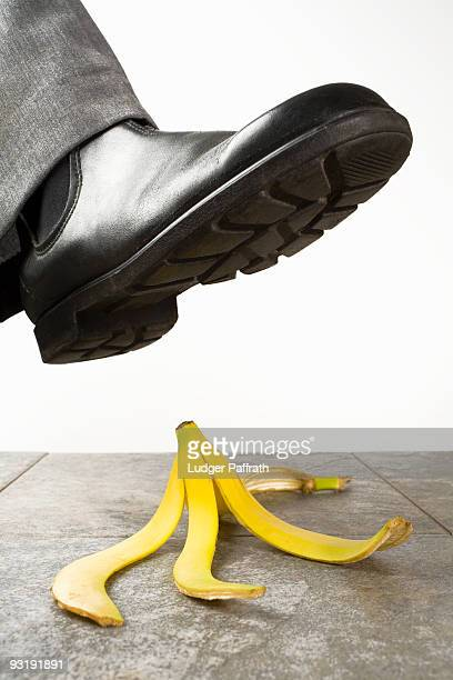 A foot above a banana peel