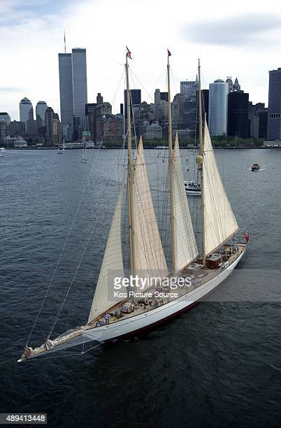 170 foot Adela sailing in front of Twin Towers The Atlantic Challenge Cup 1997 presented by Rolex Organised jointly by the New York Yacht Club and...