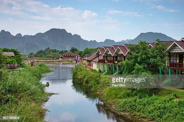 Foot bridge over the Nam Song River in Vang Vieng, Laos