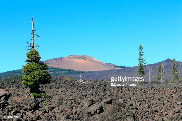 6827 foot elevation Belknap Crater and cinder cone viewed from McKenzie Pass in the central Cascade Mountains of Oregon Belknap Crater is located in...