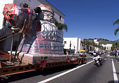 A 15 foot high Santa Claus which for 52 years sat atop a candy store on Santa Claus Lane in Carpinteria is pulled through downtown Ventura on it's...