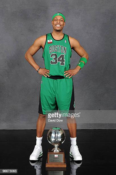 Foot Locker Three Point Shootout winner Paul Pierce of the Boston Celtics poses with the trophy on AllStar Saturday Night as part of 2010 NBA AllStar...