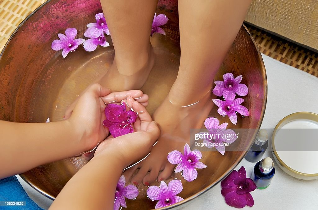 Foot massage and spa : Stock Photo