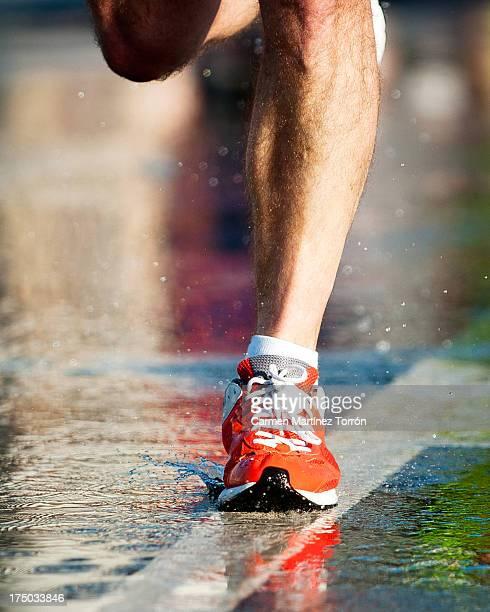 Foot of an athlete running a marathon