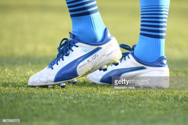 Foot of Kazuyoshi Miura of Yokohama FC prior to the JLeague J2 match between Yokohama FC and Tokushima Vortis at Nippatsu Mitsuzawa Stadium on March...