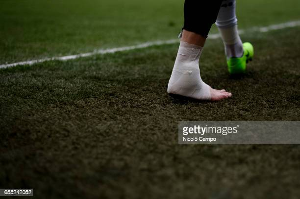 Foot of Patrik Schick of UC Sampdoria as he leaves the pitch for an injury during the Serie A football match between UC Sampdoria and Juventus FC...