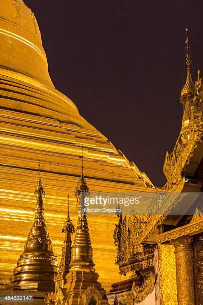Foot of Shwedagon pagoda and golden spires