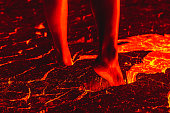 Foot on the lava floor because of global warming.