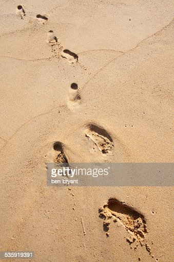 Foot prints on the beach. : Stock Photo