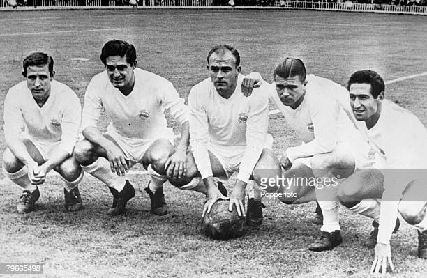 Football 11th July 1958 Real Madrid forward line of legends Raymond Kopa Hector Rial Alfredo di Stefano Ferenc Puskas Francisco Gento