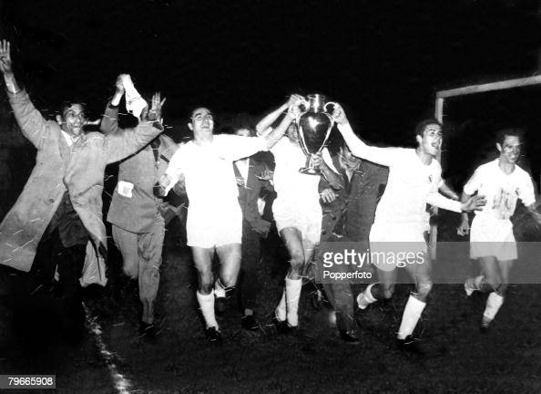Football 13th June 1956 Paris France European Cup Final Real Madrid 4 v Reims 3 Players of Real Madrid parade the European Cup after the match...