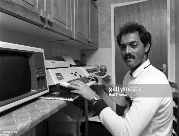 Football 14th June 1983 Liverpool FC goalkeeper Bruce Grobbelaar tries out a new computer