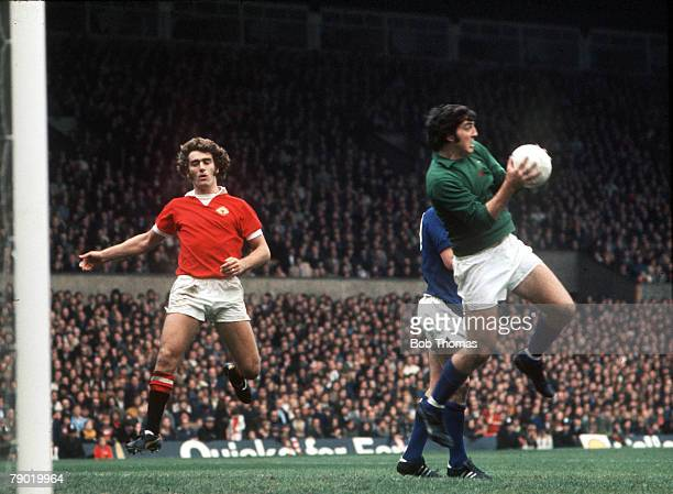 Football 14th October Manchester Ted MacDougall making his home debut as he puts pressure on Birmingham City goalkeeper Dave Latchford during their...