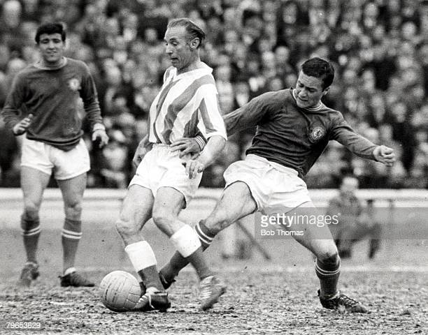 Football 15th May Stoke City footballer Stanley Matthews in action with Chelsea's Ron 'Chopper' Harris during their League match