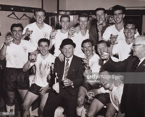 Football 17th April 1961 White Hart Lane London Division One Tottenham Hotspur 2 v Sheffield Wednesday 1 Spurs players celebrate with champagne in...