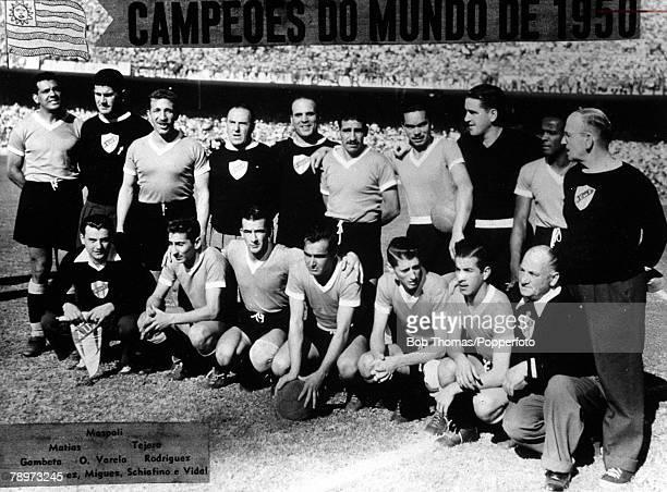 Football 1950 World Cup Final Maracana Stadium Rio de Janeiro 16th July 1950 Brazil 1 v Uruguay 2 The victorious Uruguayan team