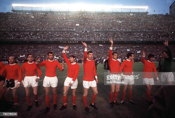 Football 1968 European Cup Semi Final Second Leg 15th May 1968 Santiago Bernebeu Stadium Spain Real Madrid 3 v Manchester United 3 United players...